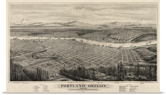 Poster Print Wall Art Entitled Vintage Birds Eye View Map Of In Portland Map Wall Art (Image 20 of 20)