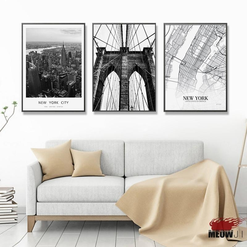 Posters Wall Art Printed Canvas Painting For Living Room Nordic Throughout New York City Map Wall Art (Image 20 of 20)