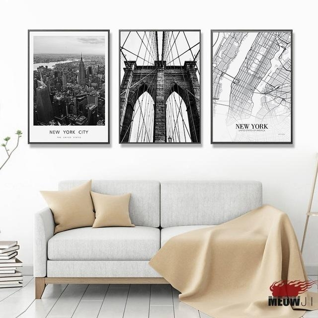 Posters Wall Art Printed Canvas Painting For Living Room Nordic With Regard To City Map Wall Art (Image 19 of 20)