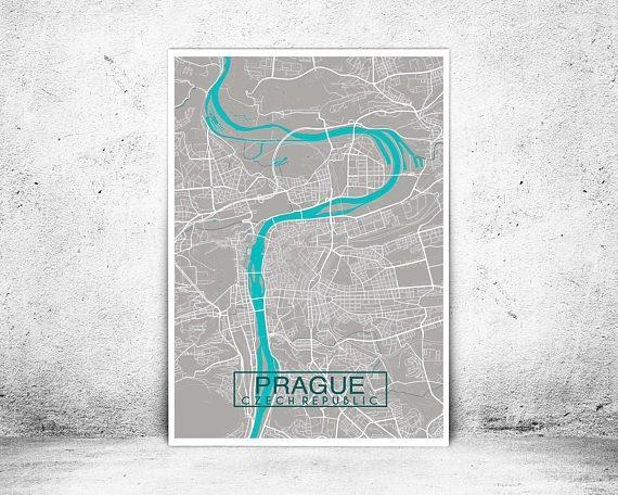 Prague City Map Print Custom Map Print Map Wall Art Map Regarding Custom Map Wall Art (Image 16 of 20)