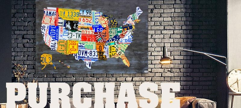 Purchase License Plate Art And License Plate Mapsdesign Turnpike For License Plate Map Wall Art (View 14 of 20)