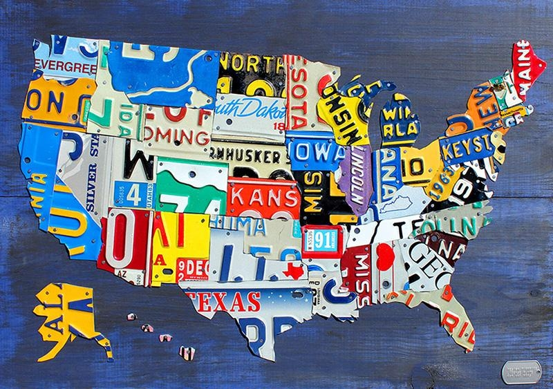 Purchase License Plate Art And License Plate Mapsdesign Turnpike Throughout License Plate Map Wall Art (Image 10 of 20)