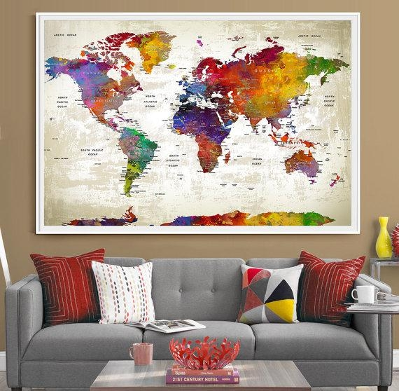 Push Pin Travel World Map Extra Large Wall Art World Map With Travel Map Wall Art (Image 10 of 20)