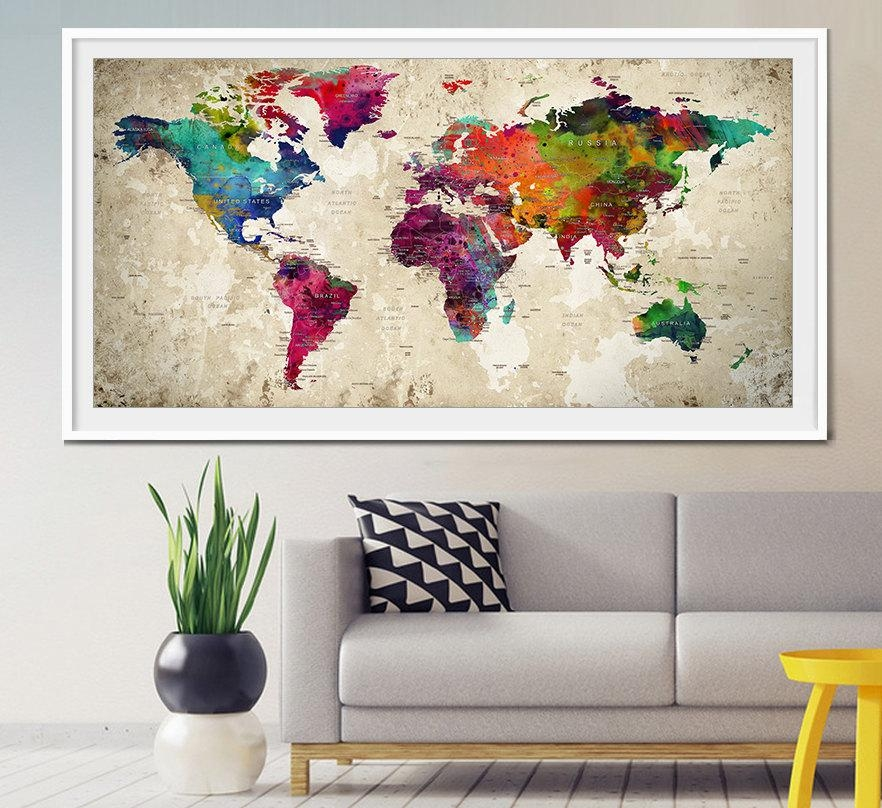 Push Pin World Map Large Push Pin Travel World Map World With Regard To World Map Wall Art Print (View 3 of 20)