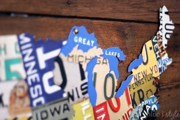Remodelaholic | License Plate Map Wall Art In License Plate Map Wall Art (Image 11 of 20)