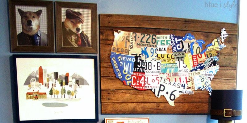 Remodelaholic | License Plate Map Wall Art Throughout License Plate Map Wall Art (View 17 of 20)
