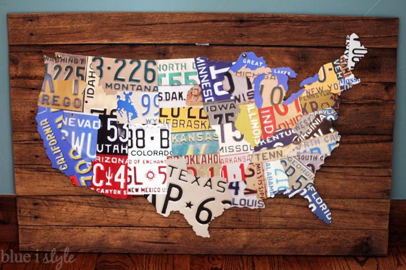 Remodelaholic | License Plate Map Wall Art Throughout License Plate Map Wall Art (View 12 of 20)