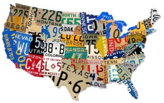 Remodelaholic | License Plate Map Wall Art With License Plate Map Wall Art (Image 14 of 20)