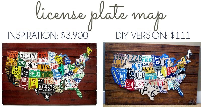 Remodelaholic | License Plate Map Wall Art With Regard To License Plate Map Wall Art (Image 15 of 20)