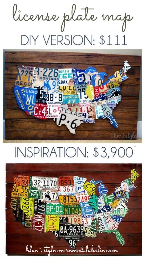 Remodelaholic | License Plate Map Wall Art Within License Plate Map Wall Art (Image 16 of 20)