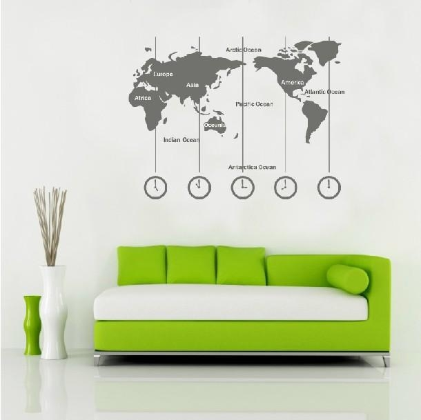 Removable Vinyl World Map Wall Decal Time Wall Art Clock Wall With World Map Wall Art Stickers (Photo 17 of 20)