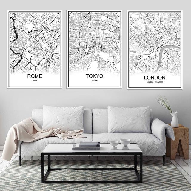 Retro Paris France City Map Kraft Paper Poster Vintage Living Room With Regard To City Map Wall Art (Image 20 of 20)