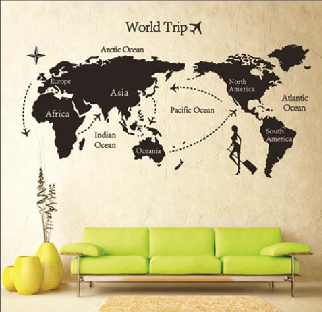 Room Photo Frame Decoration Family Tree Wall Decal Sticker Poster In Travel Map Wall Art (Image 12 of 20)