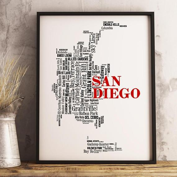 San Diego Map Art San Diego Art Print San Diego Neighborhood Throughout San Diego Map Wall Art (Image 14 of 20)
