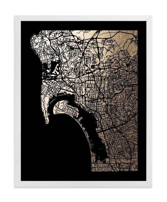 San Diego Map Foil Pressed Wall Artalex Elko Design | Minted Intended For San Diego Map Wall Art (Image 16 of 20)