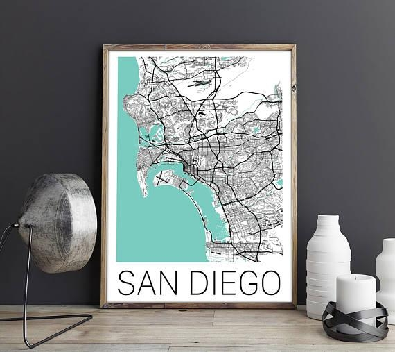 San Diego Map / San Diego Poster / San Diego Print / San Diego Throughout San Diego Map Wall Art (Image 12 of 20)