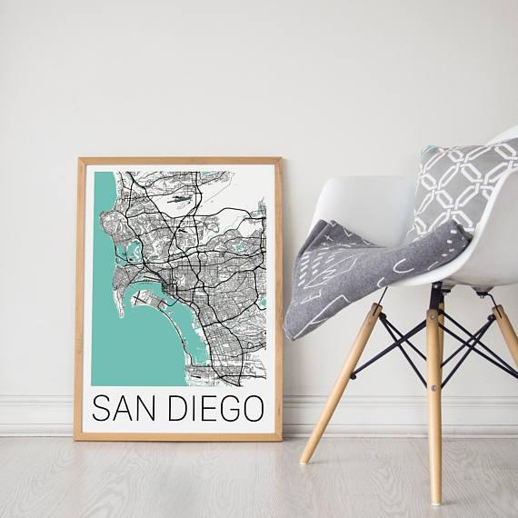 San Diego Map / San Diego Poster / San Diego Print / San Diego Within San Diego Map Wall Art (Image 13 of 20)