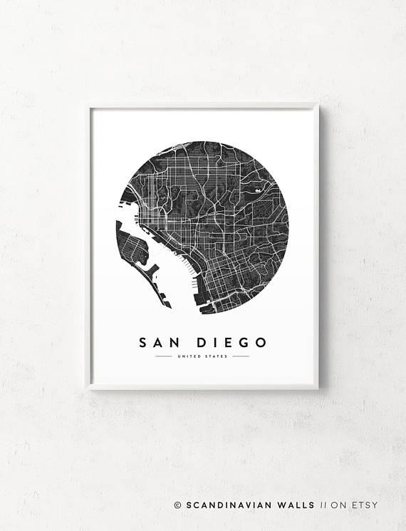 San Diego Map San Diego Print San Diego City Map San Diego Regarding San Diego Map Wall Art (Image 18 of 20)