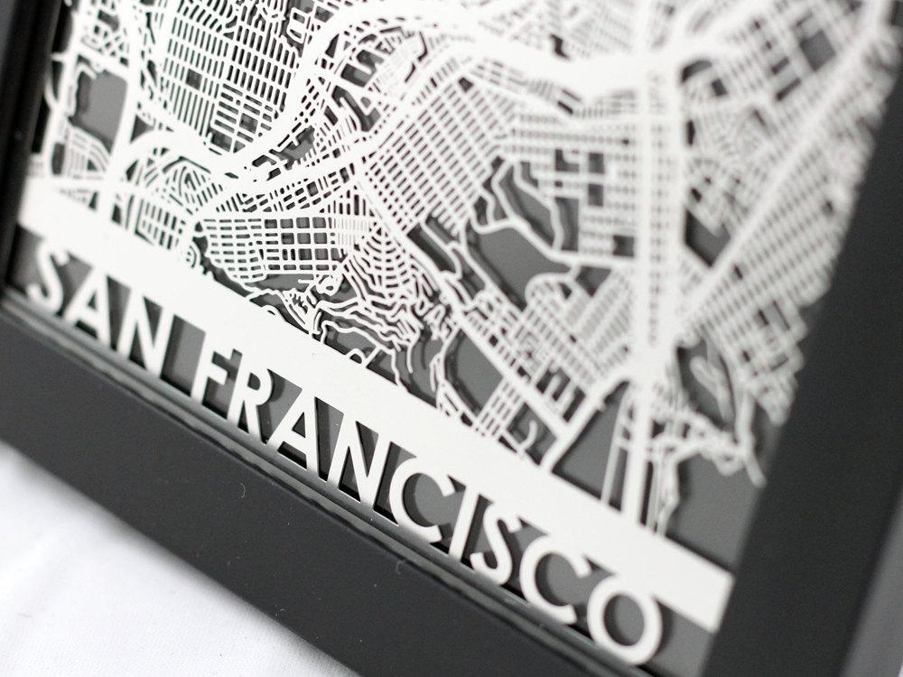San Francisco California Stainless Steel Laser Cut Map Intended For San Francisco Map Wall Art (Image 9 of 20)