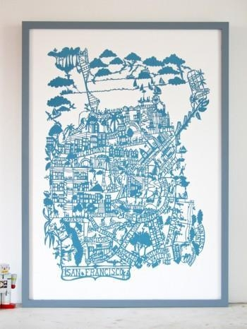 San Francisco Cerulean Blue In San Francisco Map Wall Art (Image 10 of 20)