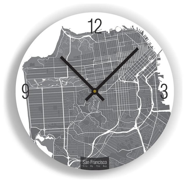San Francisco Map Art Wall Clock – Unique Contemporary Art Wall Within San Francisco Map Wall Art (Image 11 of 20)
