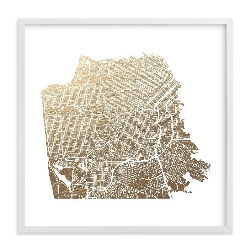 San Francisco Map Foil Pressed Wall Artalex Elko Design | Minted Inside San Francisco Map Wall Art (Image 12 of 20)