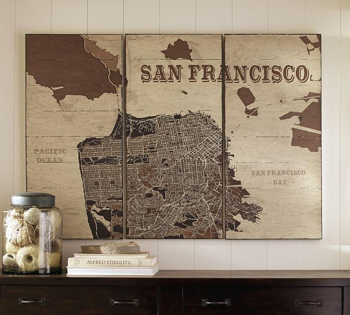 San Francisco Triptych Wood | Pottery Barn Throughout San Francisco Map Wall Art (Image 15 of 20)