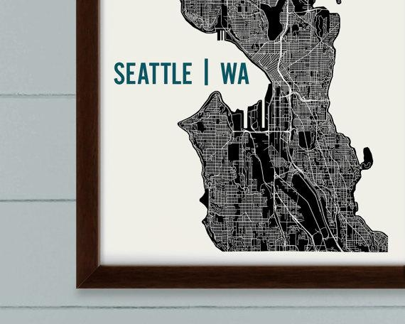 Seattle Map Art Print Seattle Print Seattle Art Print Inside Seattle Map Wall Art (View 13 of 20)