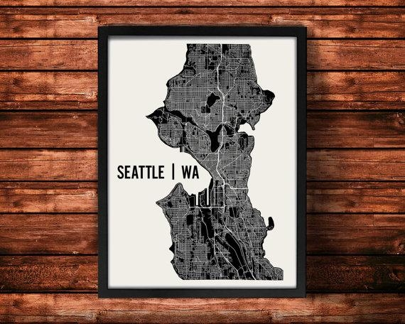 Seattle Map Art Print Seattle Print Seattle Art Print Intended For Seattle Map Wall Art (View 17 of 20)