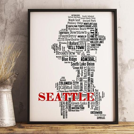 Seattle Map Art Seattle Art Print Seattle Neighborhood Map Intended For Seattle Map Wall Art (View 7 of 20)