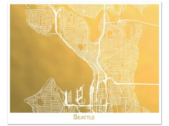 Seattle Map Gold Foil Map Of Seattle Seattle Print With Regarding Seattle Map Wall Art (View 12 of 20)