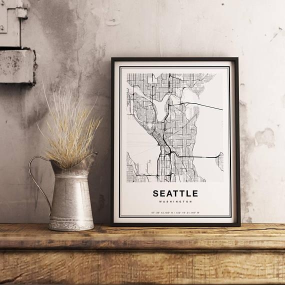 Seattle Map Print Seattle City Map Print Seattle Map Art For Seattle Map Wall Art (View 18 of 20)
