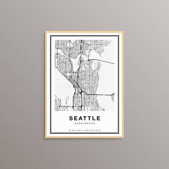 Seattle Map Print Seattle City Map Print Seattle Map Art In Seattle Map Wall Art (View 16 of 20)
