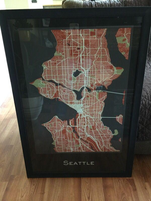 Seattle Map Wall Art (Household) In Covington, Wa – Offerup Intended For Seattle Map Wall Art (View 11 of 20)