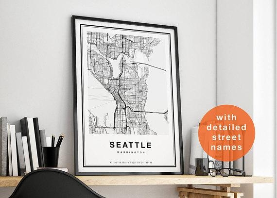 Seattle Map Wall Art Within Seattle Map Wall Art (View 2 of 20)