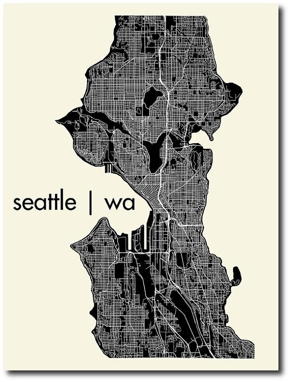 Seattle Washington Map Outline | Afputra Pertaining To Seattle Map Wall Art (View 8 of 20)