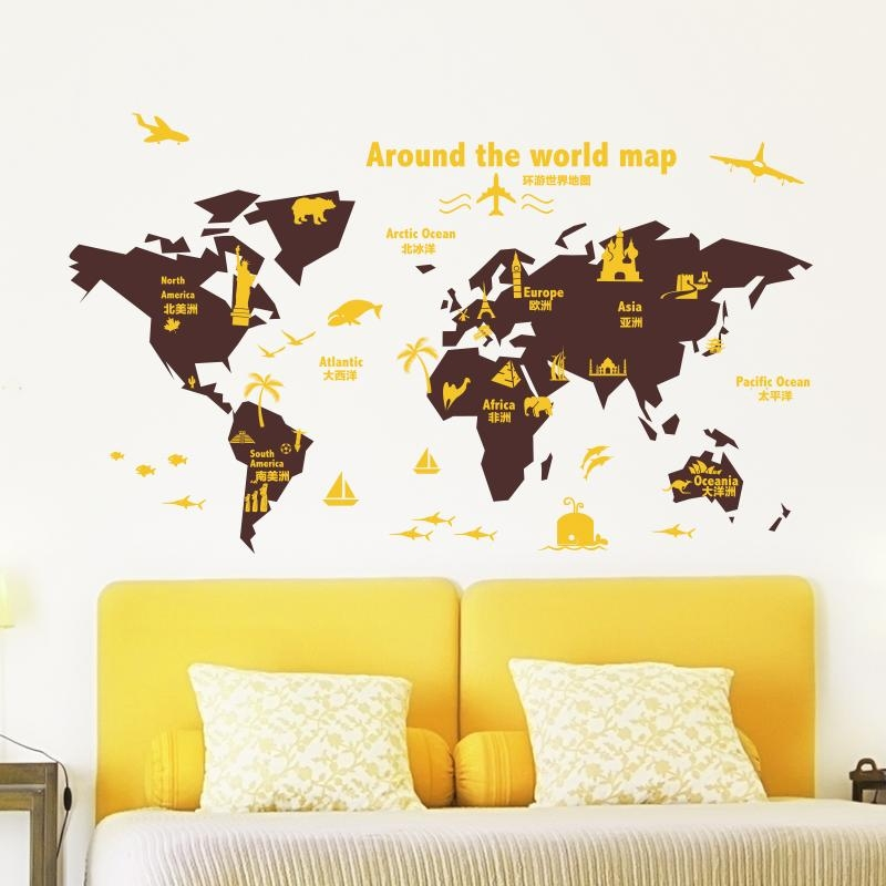 Shijuehezi] Customized World Map Wall Sticker Vinyl Diy Mural Art In Butterfly Map Wall Art (Image 17 of 20)