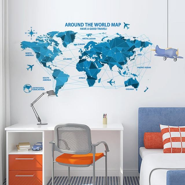 Shijuehezi] World Map Wall Sticker Poster Blue Color Pvc Material Pertaining To World Map Wall Art For Kids (View 17 of 20)