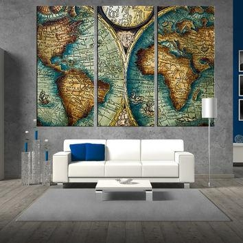 Shop Antique Map Print On Wanelo With Regard To Large World Map Wall Art (Image 12 of 20)