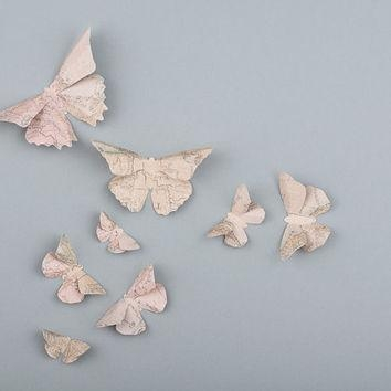 Shop Paper Butterfly Wall Art On Wanelo Intended For Butterfly Map Wall Art (Photo 2 of 20)
