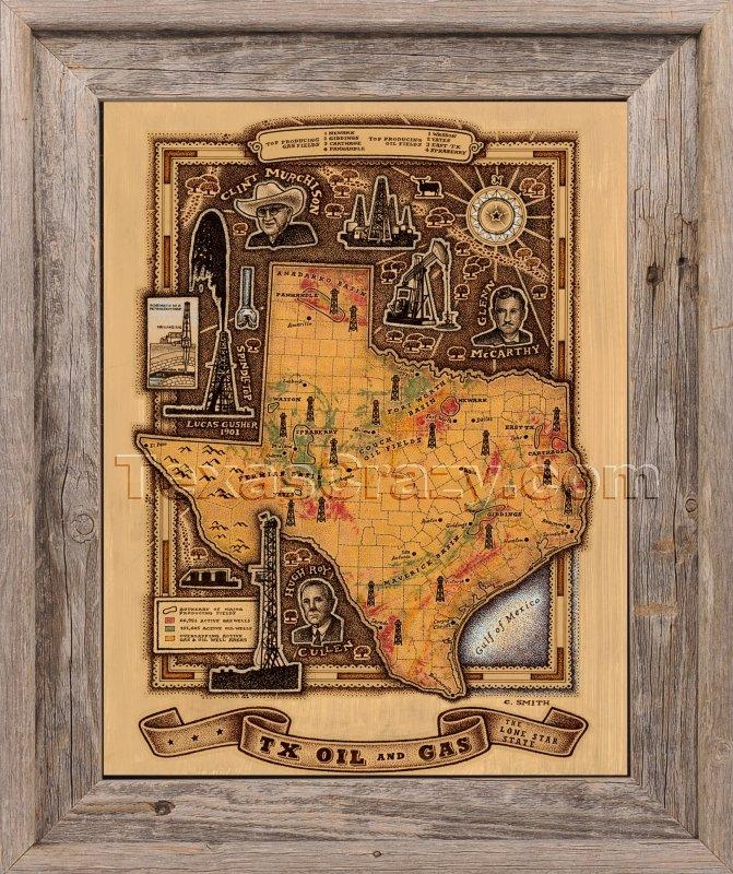 Shop Texas Oil And Gas Map Framed Unique Texas Wall Art With Texas Map Wall Art (Image 13 of 20)