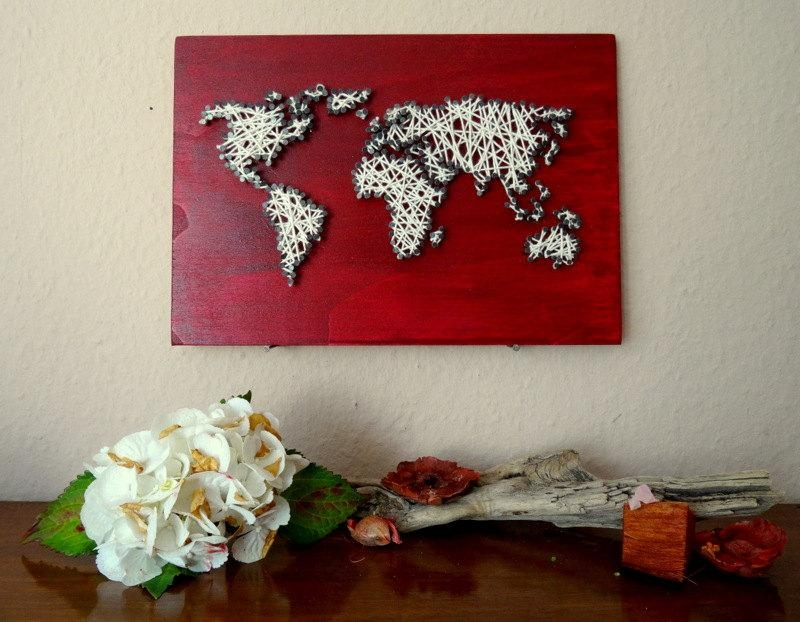 String Art World Map Decal Small World Map World Map Intended For String Map Wall Art (Image 11 of 20)
