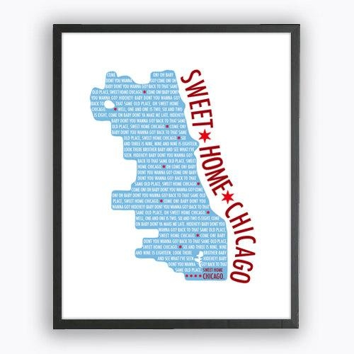 Sweet Home Chicago Print Chicago City Map Printable Wall Art With Regard To Chicago Map Wall Art (Image 20 of 20)