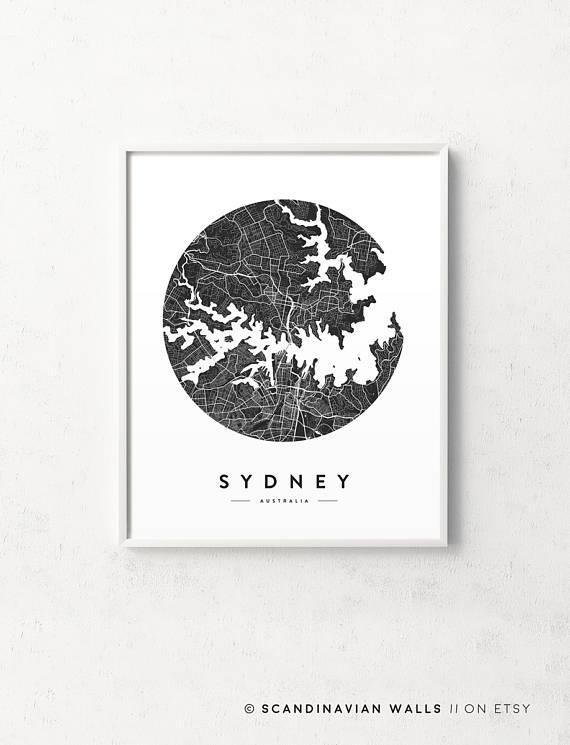 Sydney Map Poster Sydney Map Sydney Print Sydney Poster Inside City Prints Map Wall Art (Image 19 of 20)