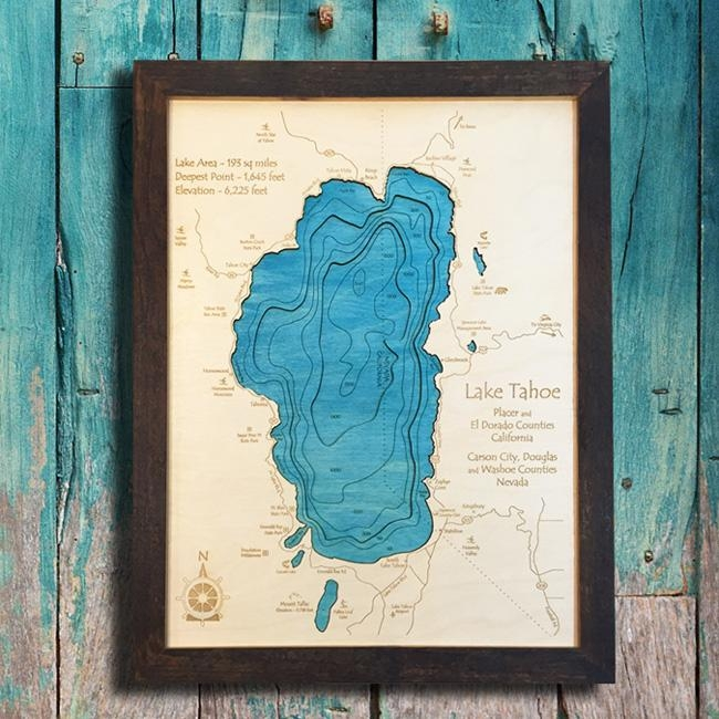 Tahoe Wood Maps | 3D Wood Maps | Vintage Signs | Unique Home Decor For Lake Map Wall Art (View 16 of 20)