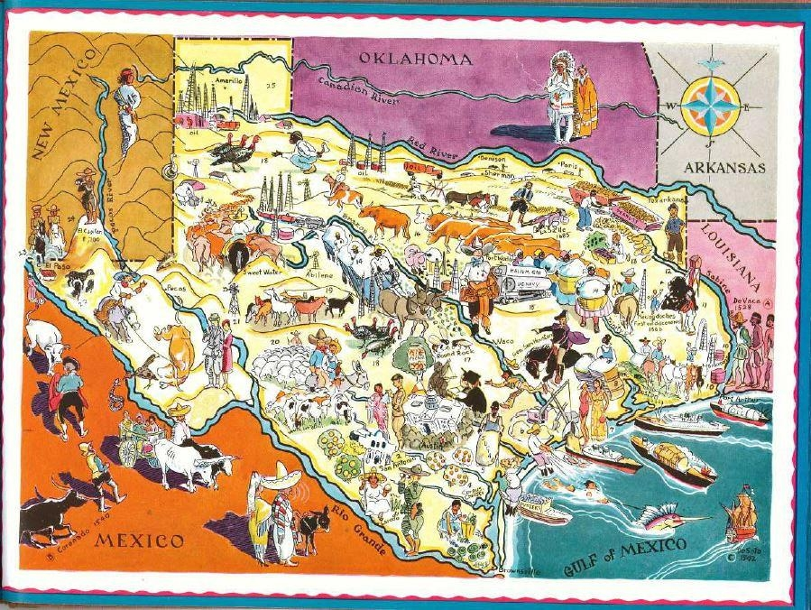Texas Map Art / Vintage Texas Print / 1930S Old State Map Of Intended For Texas Map Wall Art (Image 14 of 20)
