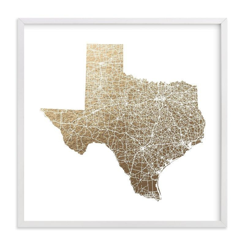 Texas Map Filled Foil Pressed Wall Artgeekink Design | Minted Intended For Texas Map Wall Art (Image 15 of 20)