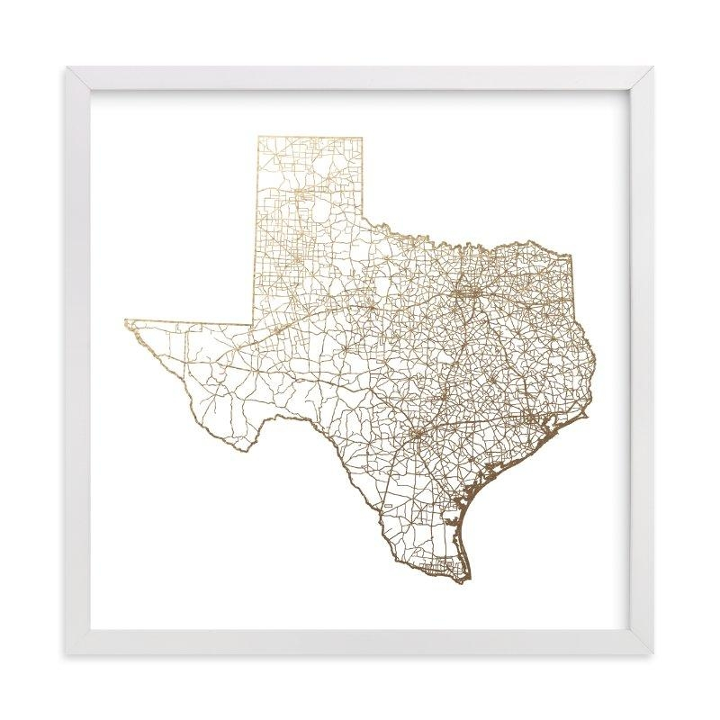 Texas Map Foil Pressed Wall Artgeekink Design | Minted In Texas Map Wall Art (Image 16 of 20)
