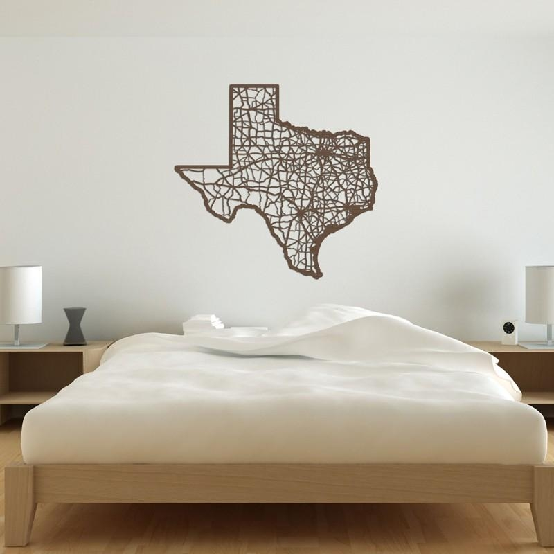 Texas Map Wooden Wall Artcut Maps – Rosenberryrooms Pertaining To Texas Map Wall Art (Image 18 of 20)