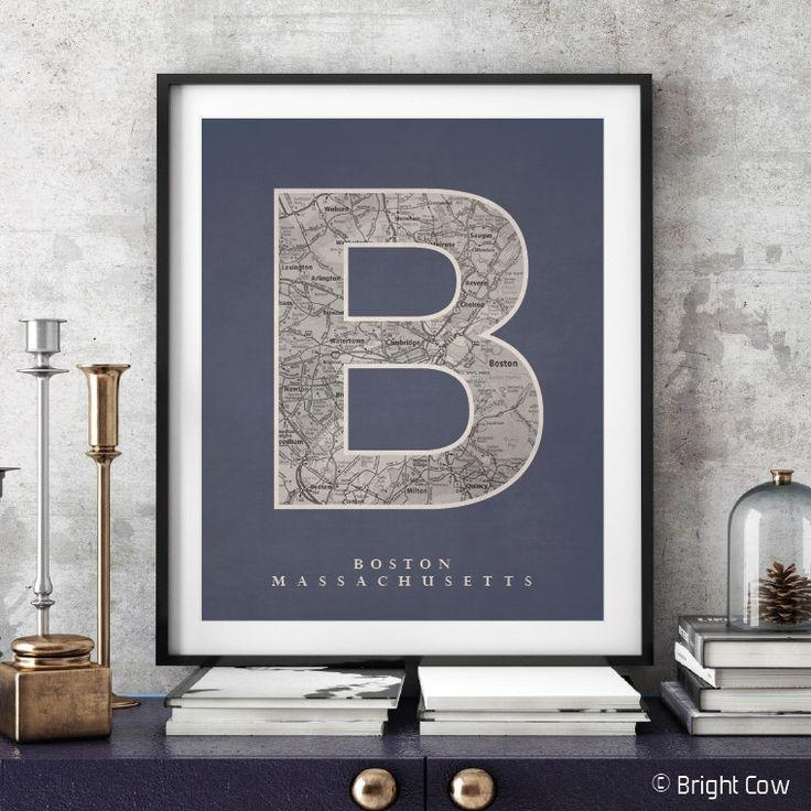 The 25+ Best Boston Map Ideas On Pinterest | Downtown Boston Regarding City Prints Map Wall Art (Image 20 of 20)